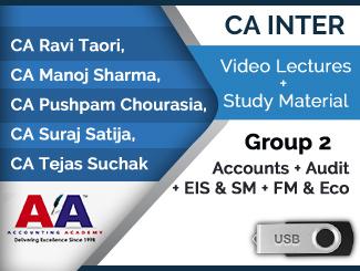CA Inter Group 2 (Accounts + Audit + EIS & SM + FM & Eco) Video Lectures (USB)