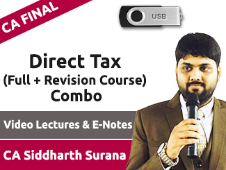 CA Final Direct Tax (Full + Revision Course) Combo Video Lectures by CA Siddharth Surana (USB)