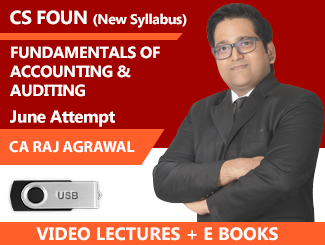 CS Foundation New Syllabus Fundamentals of Accounting & Auditing Video Lectures By CA Raj K Agrawal June Attempt (USB + E-Books)