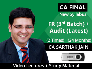 CA Final New Syllabus FR (3rd Batch) & Audit (Latest) Combo Video Lectures with MCQs by CA Sarthak Jain (USB - 2 Times)
