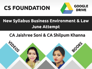 CS Foundation New Syllabus Business Environment & Law Video Lectures By CA Jaishree Soni & CA Shilpum Khanna June Attempt (Download + Books)
