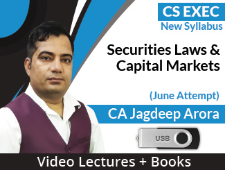 CS Executive New Syllabus Securities Laws & Capital Markets Video Lectures by CA Jagdeep Arora June Attempt (USB + Books)